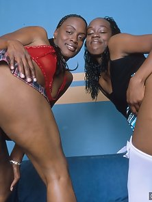 An all out ebony orgy with tits and toys galore