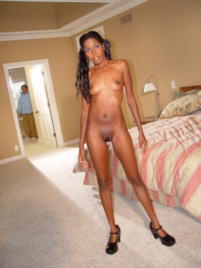 Black girl shows pink pussy