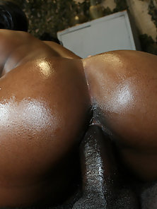 Hot black girl gets her beauty big booty flipped & fucked everywhich-way