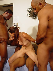 Babe gets fucked by three black massive cocks
