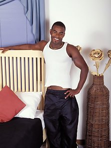 Black gay hunk shows off his hot ebony body and his massive monster dick