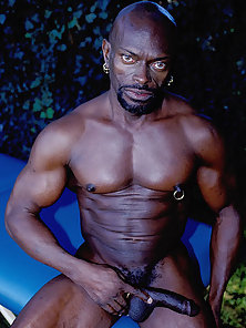 Raunchy solo with black gay bear Darell naked and playing with his growing black pipe