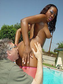 Busty Black Whore with Pink Stocking Slammed Hard By a Hunky Old Man