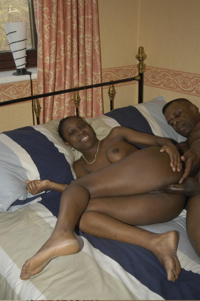 Luscious Ebony Couple Fucking In Bed