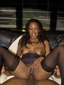 Ebony in stockings getting fucked on the floor