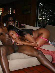 Dark chocolate hottie with a big bubble butt taming an angry black meat monster