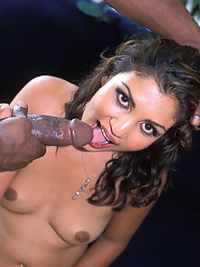 Asian chick taking a black mans dick into her pussy and mouth