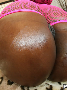 Bubble butt booty girl gets oiled and fucked