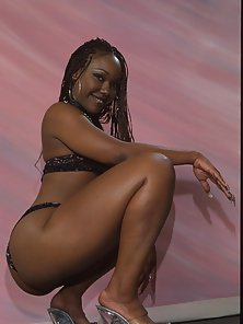 Beautiful ebony model gets her shaved pussy filled with dick