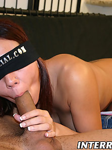 Pretty brunette gets blindfolded