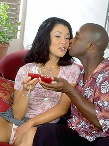 Superb Asian Karen slurping a large dark cock
