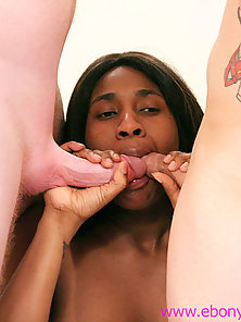 Cum hungry ebony whore enjoys bottled cum