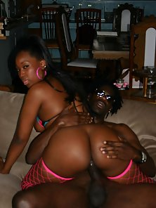 Dark chocolate hottie with a bubble butt tames a black meat monster