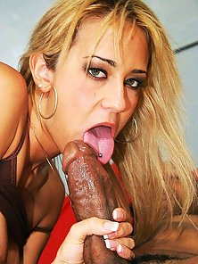 Round tit blondie gets her pierced pussy split with a black dick