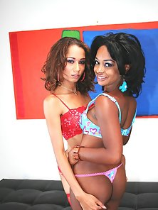 Horny Mya and Vixen inserting on huge dildos inside their twats
