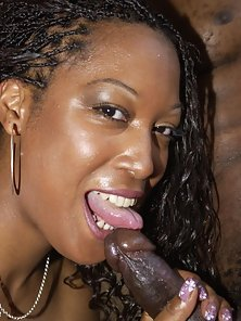 Busty ebony babe sucking and riding black cock