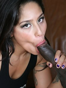 Amazing brunette pornstar Jenaveve Jolie slurp a big black cock and get nailed doggy style