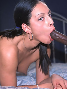 Sexy latina takes a long ebony penis in her mouth and hot pussy