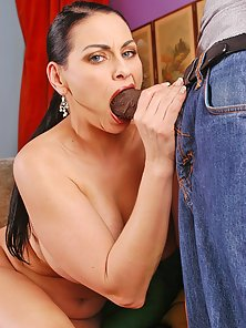 Mature busty Harley Rain taking a huge black cock