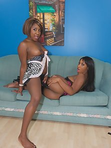 Small breasted ebony lesbian girls using a strap on cock
