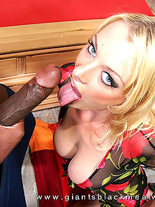 Blonde slut has her trimmed pussy stretched wide by a fat black dick