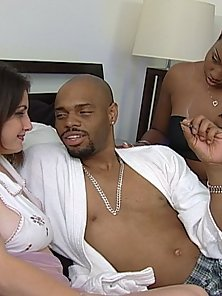 Black couple shares bed with sexy white girl
