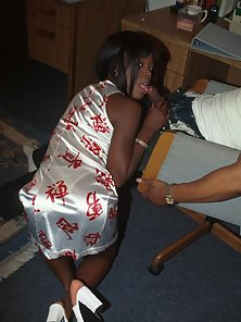 Incendiary black bitch gives blowjob and gets tits jizzed