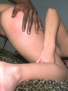 White girl having interracial hardcore sex with a black guy