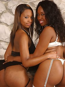 Round bottomed black hotties showing off their curves