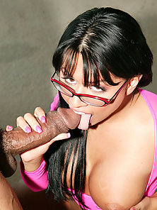 Eva Angelina wearing glasses and sucking a ebony cock