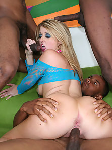 Busty Blonde Babe Gets Gangbanged With Interracial Taste