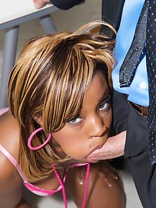 Desperate black chick fucking a director to get into a video