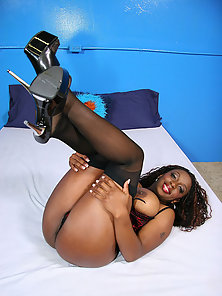 Monster tit ebony babe straddles her wet snatch on a rock hard black dick