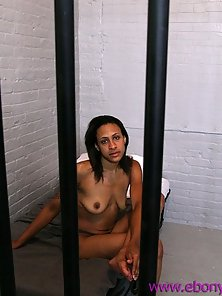 Ebony whore in jail sucks cock and swallows cum to get out sooner