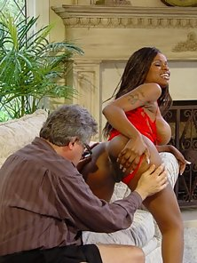 Older guys lusting over big tit black babe