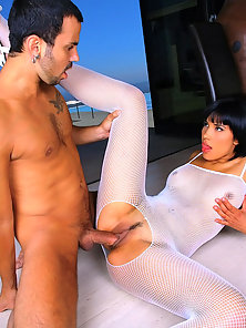 Amaaaazing hot white fishnet body suit babe takes a mega dong up her tight box in these hot fucking