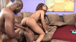 Lovely black hotties riding and sucking on monster dick in threesome fuck