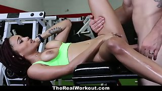 In her skin tight workout outfit this slut fucks a hot dude in the gym on the equipment