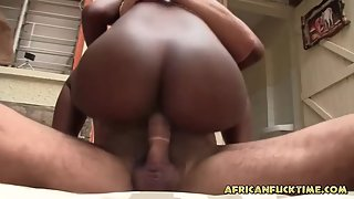 Perky Tit Ebony Babe Riding Her Man after Sucking