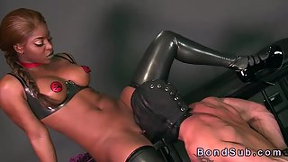 Ebony Babe in Latex Get Licked and Fucked By Bondage Masked Man