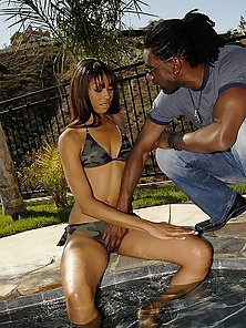 Sexy black beaver loves a mocha colored cock drilling her naughty adventures