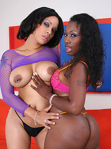 Huge Boobs Lesbian Girls Banged by Large Toy on Webcam