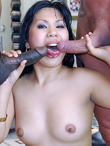 Beautiful Asian Babe in Black Stockings Blows Fat Black Dicks
