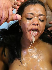 Appealing Black Babes Rubbing Cunts and Sucking Fat Dicks
