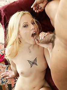 Mily white female enjoys a black penis in her twat and mouth