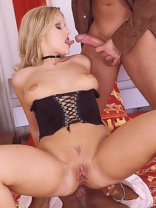 Cock Hungry Blonde Babe Sweet Sandra Riding Two Big Cock in Threesome Sex