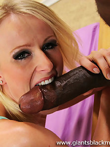 Blondie gets her pussy stretched out from over a foot of hard black dick