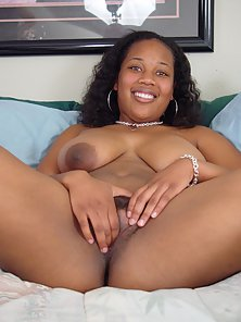 Beautiful Ebony Honey Showing Her Tight Pussy in Bedroom