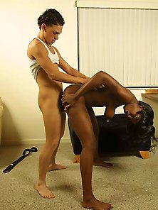 Huge titted black Heidi tasting a large white penis