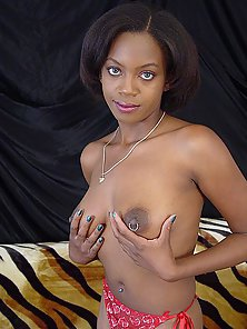 Sexiest Ebony Cooter after Stripping Demonstrates Piercing Perfect Boobs